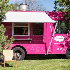 The reception was catered by Comida, who served delicious mexican cuisine from this hot pink food truck. What a cool and unique way to cater an event- and add a pop of color! Image Credit: 23rd Studios Weddings