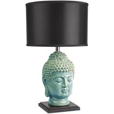 Abbyson Living Buddha Table Lamp ($129) ❤ liked on Polyvore featuring home, lighting, table lamps, blue, blue lights, ceramic lamp, abbyson living, blue ceramic lamp and ceramic table lamps