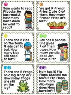 Subtraction to 20 word problems centers that are so much fun and kids can actually read them (and look at the picture for help! 1st Grade Math Worksheets, First Grade Math, Grade 1, Fun Math, Math Activities, Math Games, Math Math, Maths, Kindergarten Math