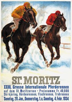 lithograph poster st.moritz horses - Google Search