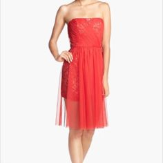 Perfect for the holidays! Beautiful & brand new! Red Vienna Mesh overlay embellished lace sheath dress. New and never worn. Amazing dress!! BCBGMaxAzria Dresses