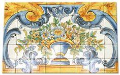 size on demand. Kitchen Tiles Design, Kitchen Backsplash, Painted Tiles, Hand Painted, Textile Texture, Tile Murals, Mural Painting, Ceramic Artists, Art Decor