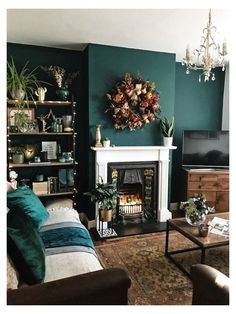 Olive Living Rooms, Dark Green Living Room, Teal Living Rooms, Accent Walls In Living Room, Living Room Color Schemes, Boho Living Room, Cozy Living, Teal Rooms, Grey Bedrooms