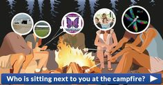 Who is sitting next to you at the campfire?