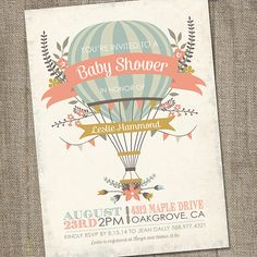 A sweet hot air balloon in antiqued hues of salmon, teal, brown and chartreuse is featured on this PRINTABLE, Baby Shower Invitation. This Up and