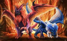 Regal flaming lions Teostra and lunastra, from Monster Hunter.