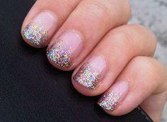 Rainbow sparkle manicure