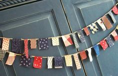 Patriotic Scrappy Banner/ 4th of July  Banner/ Labor Day  / Party Garland/ Photo Prop in Vintage Red, White and Blue
