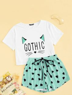 To find out about the Girls Cartoon Graphic Top and Tie Waist Shorts PJ Set at SHEIN, part of our latest Pajama Sets ready to shop online today! Girls Fashion Clothes, Teen Fashion Outfits, Outfits For Teens, Fashion Ideas, Cute Lazy Outfits, Trendy Outfits, Cool Outfits, Cute Pajama Sets, Cute Sleepwear