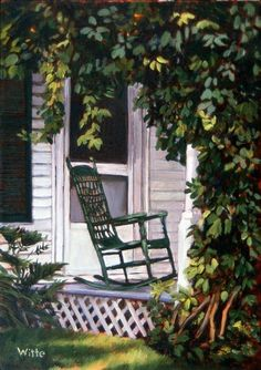 This is an original oil on canvas art painting by American Artist Marie Witte, named 'Green Rocking Chair' (completed in Fine art prints of the original painting are available for purchase. Watercolor Flowers, Watercolor Art, Akiane Kramarik, Porch Windows, Pictures To Paint, Painting Pictures, Outdoor Chairs, Outdoor Decor, Impressionist Art