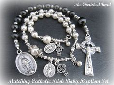 Matching Catholic Irish Baptism Set  Gifts for by TheCherishedBead