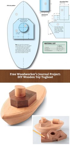 How to Build a Wooden Toy Tugboat, from Making the Hull to Building Above Deck…