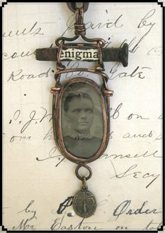 Original OOAK soldered photo pendant ENIGMA by LandofNodStudios, $32.95