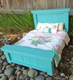 GIFT SET Vintage Linen Turquoise Farmhouse Doll Bed. $95.00 USD, via Etsy.