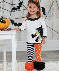 Look at this #zulilyfind! White Witch Tunic & Ruffle Leggings - Infant, Toddler & Girls #zulilyfinds