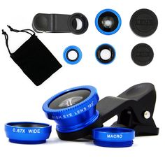 Hogowin Clip 180˚ Fish-Eye Lens + 0.67x Wide Angle Lens + Macro Lens 3 in 1 Universal Cell Phone Camera Lens Kit /2 in 1 Macro Lens & Wide Angle Lens/Universal Clip(Black). 3 in 1:180˚ Fish Eye,Wide Angle, Macro Lens. Macro lens can take clear photos of small objects; Wide angle lens can shoot larger range of scenery; 180˚ of the scene can be captured by Fish eye lens, which can let you enjoy the unreal world, to use this lens enable you easily enjoy photography and find the instant…