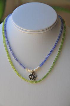 Purple Blue Tanzanite peridot pearl and sterling silver by Tarinee, $95.00