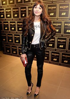 Biker chick chic: Zara Martin showed went hell for leather by pairing her bicker chick jac...