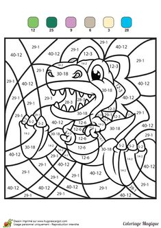 Coloriage Magique Ce1 Soustraction Math Coloring Worksheets, Kids Math Worksheets, Preschool Activities, Math Addition, Color By Numbers, Basic Math, Homeschool Math, 2nd Grade Math, Math Facts