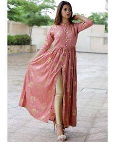 Deep Peach Foil Printed Cape is part of Silk kurti designs - New Dress Design Indian, Dress Indian Style, Pakistani Dress Design, Silk Kurti Designs, Kurta Designs Women, Kurti Designs Party Wear, Printed Kurti Designs, Dress Neck Designs, Stylish Dress Designs