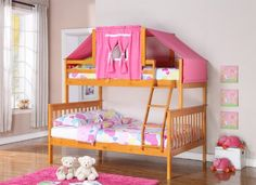 Twin over Full mission Bunk Bed with Built-In Ladder by Donco Kids. Young and Preteen kids Love this bed. Perfect for kids or guest room.The frame is built of 100% solid pine wood and reinforced with steel, for a durable bed.    Twin Over Full Bunk Bed w/ Tent Kit (1223H (Honey w/ Pink Tent) By Furniture4You http://www.amazon.com/dp/B00IAHTNWQ/ref=cm_sw_r_pi_dp_gBTItb0KC1XBH4T1