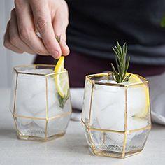 Gold Geometric Drinking Glass Tumbler Set of 2 Glasses Bar Deco, Deco Table, Drinking Glass, Glass Design, Kitchen Accessories, Kitchen Gadgets, Kitchenware, Kitchen Decor, Home Goods