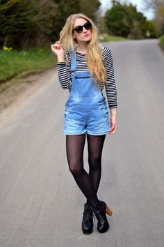 Overalls with shorts, black tights, stripped long sleeve, winter/fall/spring outfit