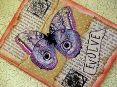 OOAK Art Collage and Ink Card EVOLVE by PaperPastiche on Etsy, $5.95