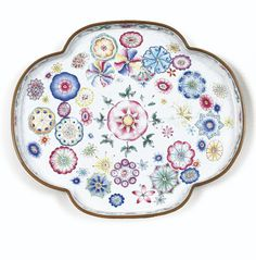 C18th Chinese PAINTED ENAMEL on copper 'FLOWER-BALL' TRAY, QIANLONG MARK AND PERIOD, 16cm , 10K