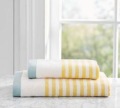 Marlo Stripe Hand Towel, Navy Blue
