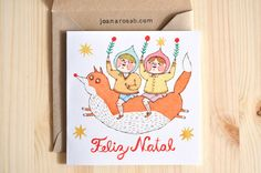 1 Christmas greeting card + 1 envelope // MERRY CHRISTMAS // The Flying Fox by Joana Rosa Bragança