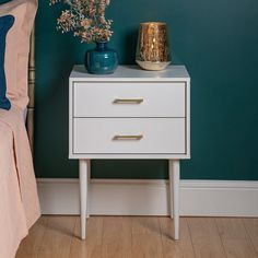 Canora Grey Side Table with Storage & Reviews Grey Side Table, Square Side Table, White Nightstand, 2 Drawer Nightstand, Nightstands, Painted Bedside Tables, Side Tables Bedroom, Side Table With Storage, New Room