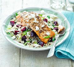 A gluten-free fish salad that's rich in omega-3, folate and fibre. Seasoned with cumin and caraway, the salmon pairs well with vibrant, sweet beetroot and salty feta
