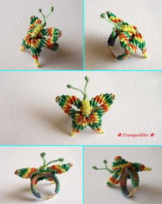 This colorful butterfly can be made also for pendant… Macrame Rings, Macrame Knots, Micro Macrame, Friendship Bracelets Tutorial, Bracelet Tutorial, Macrame Patterns, Beading Patterns, Nudo Simple, Easy Crafts