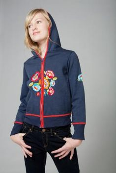 Wati Martine Zip Front Hoodie Jacket, Navy. Embroidered back and front. Pockets. Lined hood. Cotton brushed jersey.