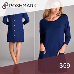 S-L Tunic With back buttons - navy S-L Tunic With back buttons - navy. Made in USA. Sizing is generous Tops Tunics