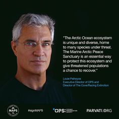"""""""The Arctic Ocean ecosystem is unique and diverse home to many species under threat. The Marine Arctic Peace Sanctuary is an essential way to protect this ecosystem and give threatened populations a chance to recover.""""  Thanks to #LouiePsihoyos of @oceanicpreservationsociety director of #TheCove and @racingextinction for your endorsement of the Marine Arctic Peace Sanctuary! I invite all my followers to go and check out the great work his organization is doing.   Help protect the Arctic…"""