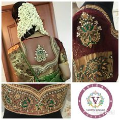 Beautiful bride adorned in our contrast embroidered  Nalangu  blouse.