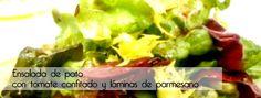 Ensalada de pato con tomate confitado y láminas de parmesano