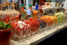 Mini salad bar with square vases. This would be so cute for any buffet type of deal or for family get togethers :) You only have to purchase the vases once and use them for the rest of your life!