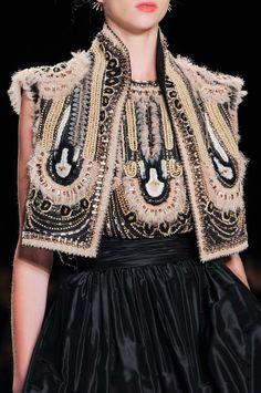 Embellished black dress  bolero with pretty beaded patterns - decorative surfaces; fashion details // Naeem Khan ss14