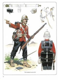 BRITISH ARMY - Battalion Foot, Sergeant at Isandlwana With details of 1871 pattern Valise Equipment British Army Uniform, British Uniforms, British Soldier, Military Art, Military History, Military Uniforms, Commonwealth, British Armed Forces, Age Of Empires