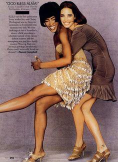 Naomi Campbell & Christy Turlington (Photography by Gilles Bensimon) | 1990