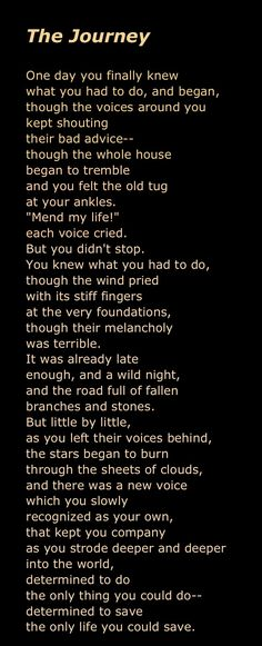 """Mary Oliver, """"The Journey""""."""