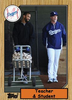 Mark McGwire and Matt Kemp on a 1987 Topps fantasy Baseball card - pic via Jon SooHoo/LA Dodgers 2013