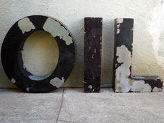 Salvaged Metal OIL Industrial Sign from Etsy Industrial Signs, Industrial Interiors, Industrial Metal, Oilfield Trash, Oilfield Wife, Metal Letters, Metal Signs, Gabi