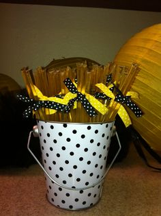 "Honey sticks, party favor for ""What will it Bee?"" gender reveal"