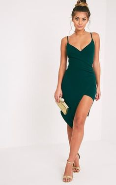 Lauriell Emerald Green Wrap Front Midi Dress
