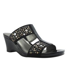 Another great find on #zulily! Black Starling Wedge Stretch Sandal #zulilyfinds