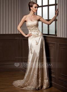 Forme Princesse Bustier en coeur Traîne moyenne Charmeuse Tulle Robe de mariée avec Plissé Dentelle (002000169)